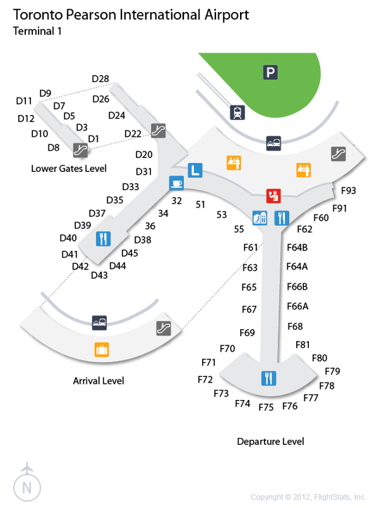 YYZ Pearson airport terminal 1 map